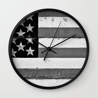 flag Wall Clocks featuring Flag by Keith Dotson