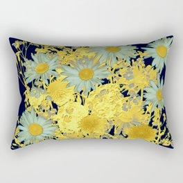blue daisies and gold Rectangular Pillow