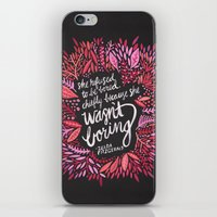 fitzgerald iPhone & iPod Skins featuring Zelda Fitzgerald – Pink on Charcoal by Cat Coquillette