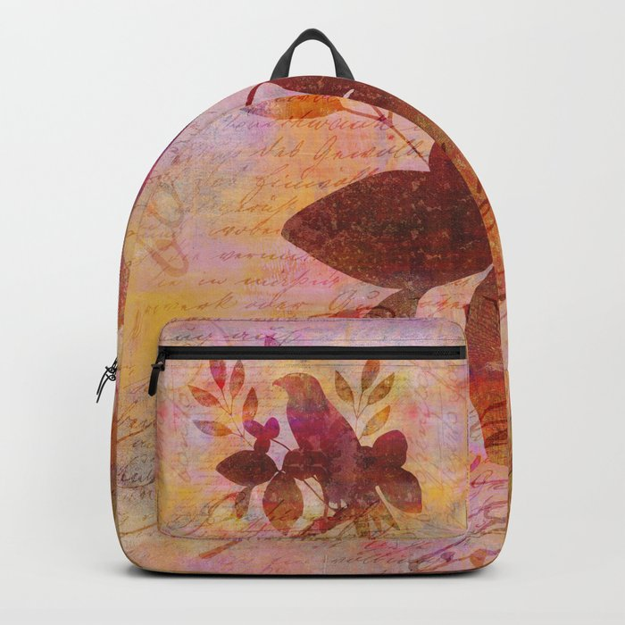 Bird and Leaf Illustration in warm colors Backpack