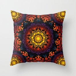 'Bohemian Summer' Multi-Coloured Mandala Throw Pillow