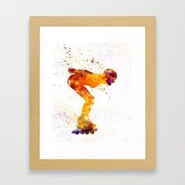 Woman in roller skates 09 in watercolor Framed Art Print
