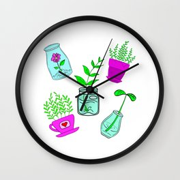 Cute lovely little house plants in glass jars, potted flowers cartoons. plant, ecology, nature lover Wall Clock