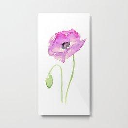 Purple Poppy Floral Watercolor Metal Print