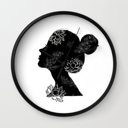 Print VII / Lotus Girl Wall Clock