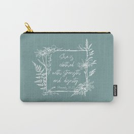 She Is Clothed Wildflower Frame Bible Verse Carry-All Pouch