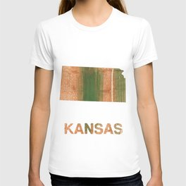 Kansas map outline Peru green streaked wash drawing illustration T-shirt