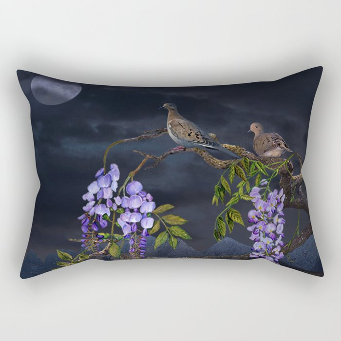 Doves In Moonlight Rectangular Pillow