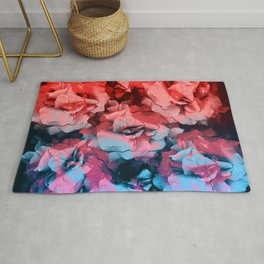 Colorful Roses | Real Flowers, Floral Photo, Red Roses, Blue Roses, Pressed Flowers, Botanical Rug