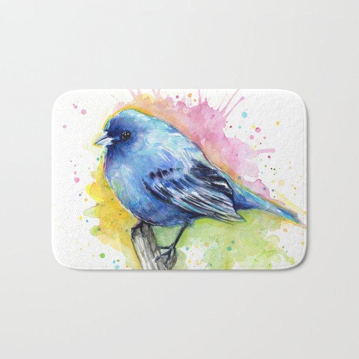 Blue Bird Indigo Bunting Colorful Animals Bath Mat