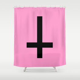 Inverted Cross on Pink Shower Curtain