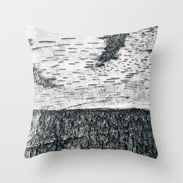 Birch, black & white Throw Pillow