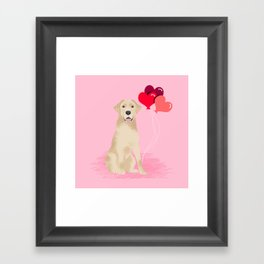 Labrador Retriever yellow lab valentines day dog breed gifts heart balloons Framed Art Print