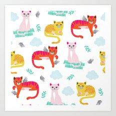 GRUMPY CATS ALL TOGETHER Art Print