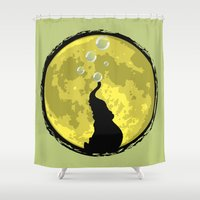 onesie Shower Curtains featuring Elephant bubbly in the moonlight by kamonkey