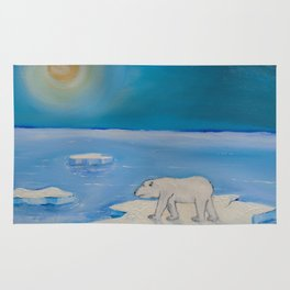 Polar Bear floating on a iceberg Rug