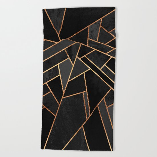 Black Night Beach Towel