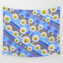 DECORATIVE DIAGONAL PATTERN BLUE MODERN ART WHITE SHASTA DAISIES Wall Tapestry