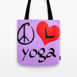 Peace Love Yoga Tote Bag