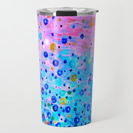 WHAT GOES UP, REVISITED - Bold Royal Blue Pink Bubbles Whimsical Underwater Ocean Abstract Painting Travel Mug