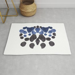 Rorschach Inkblot Diagram Psychology Abstract Symmetry Colorful Watercolor Art Navy Blue Black Rug