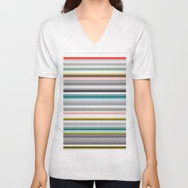 grey and colored stripes Unisex V-Neck