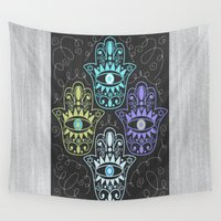 hamsa Wall Tapestries featuring Hamsa Chalk by Nina May Designs