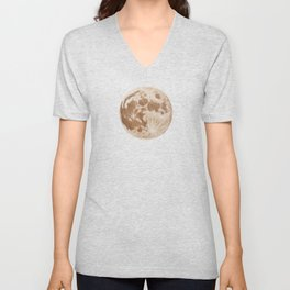 Moon Portrait 5, Linen Moon Unisex V-Neck