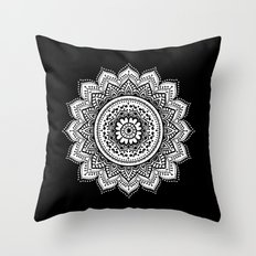black and white mandala Throw Pillow