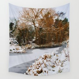 The Old Mill Stream in Winter Wall Tapestry