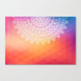 colorful indi pattern, boho print, peach white, henna, beautiful boho, bright popular design Canvas Print