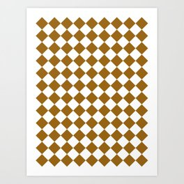Diamonds - White and Golden Brown Art Print
