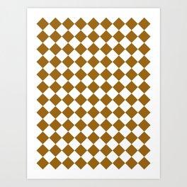 Diamonds - White and Golden Brown Art Print