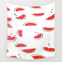 watermelon Wall Tapestries featuring Watermelon by Sweet Colors Gallery