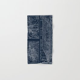 Vintage New York City Street Map Hand & Bath Towel