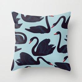BEAUTIFUL ELEGANT BLACK SWAN PATTERN Throw Pillow