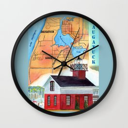 Map of Saugatuck Wall Clock