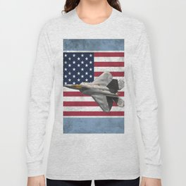 F22 Stealth Fighter Jet American Flag Long Sleeve T-shirt