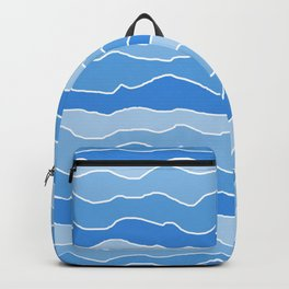 Four Shades of Light Blue with White Squiggly Lines Backpack