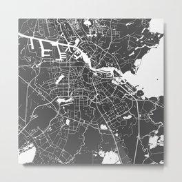 Amsterdam Gray on White Street Map Metal Print