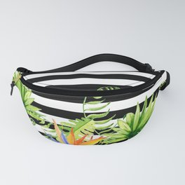 Tropical Chic Florals And BW Stripes Fanny Pack
