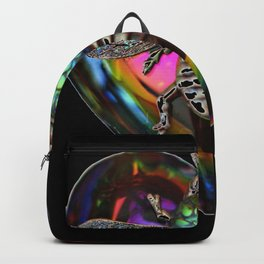 Mentalembellisher Psychedelic Rainbow Heart Necklace with Silver Bee & Vintage Snakeskin Helio Glass Backpack