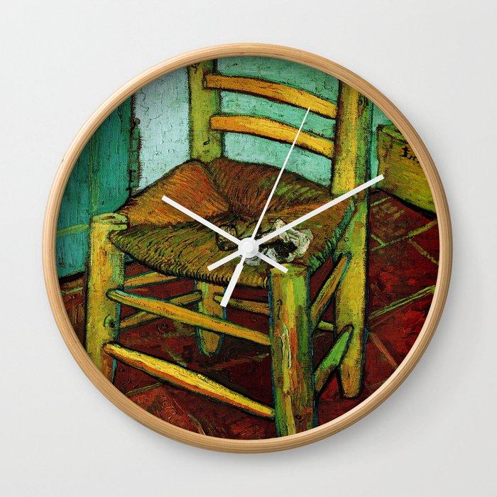Van Gogh Goghs Chair GoghVincent Goghimpressionistpost Impressionismbrushworkpa Wall Clock By Oldking