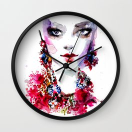 Red blue beauty fashion illustration Wall Clock