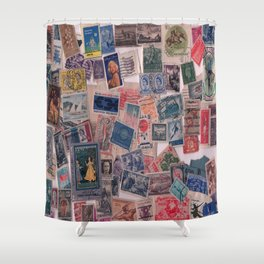 20th Century through stamps Shower Curtain