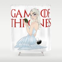 mother of dragons Shower Curtains featuring Mother Of The Dragons (no background) by Guilherme Mauad