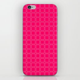 Hot Pink Neon Background with White Square Pattern Print iPhone Skin