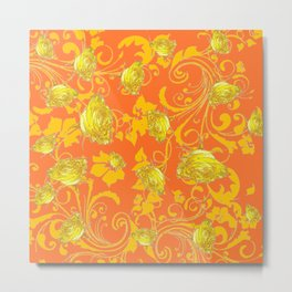 AWESOME CUMIN ORANGE & YELLOW ROSE SCROLLS  ART Metal Print