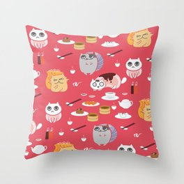 Dim Sum Cats 2 Throw Pillow