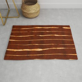 Red Earth Suede Leather and Gold Veins Design Rug